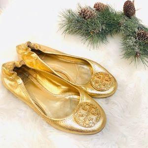 Tory Burch Ballet Flat Gold Metallic Glitter Shoes